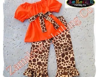 Custom Boutique Clothing Orange Peasant Dress Top Giraffe Ruffle Pant Bottom Outfit Set 3 6 9 12 18 24 month size 2T 2 3T 3 4T 4 5T 5 6 7 8