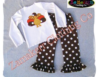 Girl Fall Turkey Knit Tee Outfit - Fall Thanksgiving Outfit Pant Set Baby Toddler Infant 3 6 9 12 18 24 month size 2T 2 3T 3 4T 4 5T 5 6 7 8