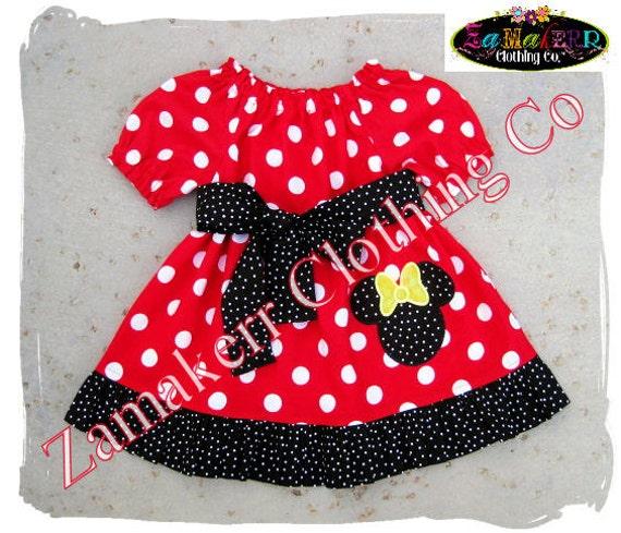 Custom Boutique Minnie Mouse Dress - Girl Minnie Dress - Red Polkadot Minnie Mouse Dress Size 3 6 9 12 18 24 month 2T 2 3T 3 4T 4 5T 5 6 7 8