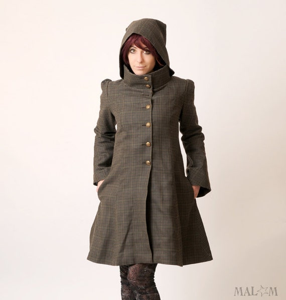 Camille Coat with Goblin Hood and tall collar - Brown and green checks - Winter coat