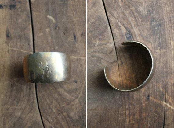 1970s vintage M brass metal cuff