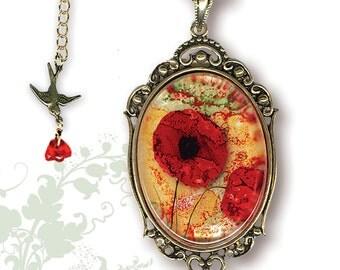 Red Poppy Necklace - Glass Art Frame Jewelry - Original Red Poppy Art Glass Jewelry - Red black poppy art - Dreamy Red Poppy Necklace