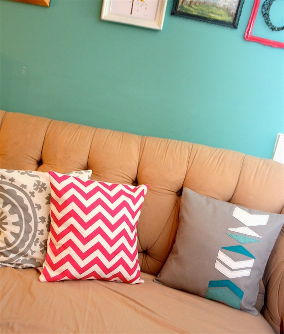 Pink Chevron Pillow Cover