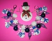 Christmas Snowman Bracelet Snowman Charm Bracelet Winter Bracelet Snow Snowflake Snowman Jewelry Cute Fun Christmas Bracelet Handmade OOAK