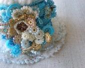 Delphinium Grandiflorum   ... Freeform Crochet Cuff - Flowers -  Blue Cream Ivory White Gold Beige - Beaded Beadwork