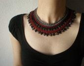 Allure - Burgundy Black Grey ... Beaded Crochet Necklace - Beadwork