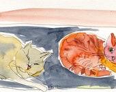 Original drawing, painting, Synchronising, ooak, feline, ink, Vang paper