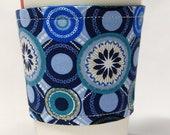 Coffee Cozy/Cup Sleeve Eco Friendly Slip-on, Teacher Appreciation, Co-Worker Gift:  Blue Geometric Circles