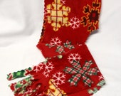 Green and Gold Plaid Snowflakes on Red Scoodie/Scarf Free U.S. Shipping