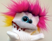 Snoodles McGee- A Sock Zombie Puppet with Pink and Yellow Hair