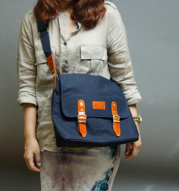 Handmade messenger bag Masculine collection navy blue color