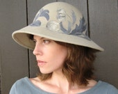 Couture Hat with Floral Embroidery, Light Taupe and Blue, Womens Fashion Hat, Handmade Millinery