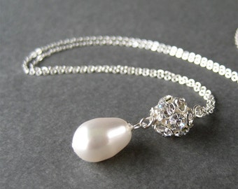 Pearl Drop Rhinestone Necklace, 18 Inch Silver Chain Necklace, Simple Bridal Necklace, White Pearl Teardrop Pendant, Handmade, Mrs Sparkle