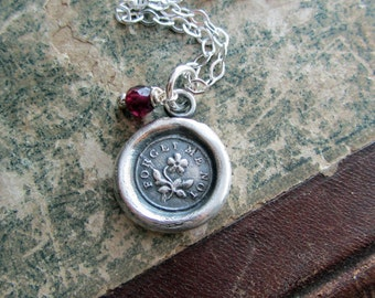 Memorial Necklace - Forget me Not Keepsake Jewelry in eco friendly fine silver choice of semiprecious stones V1200