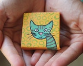 Itty Bitty Blue Cat Painting