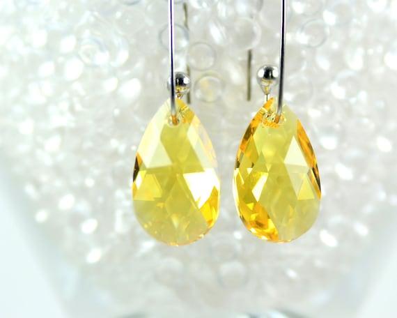Swarovski Earrings Crystal Earrings Yellow Topaz  Teardrops