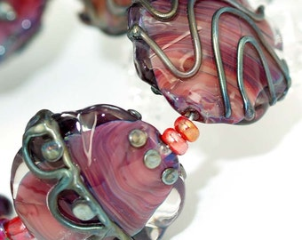 Pearly Lampwork Flower Silver Stones (6) SRA