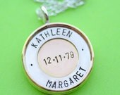 Large Circle of Love - Personalized 7/8 Inch Two Tone Pendant with Stamping Also on Back