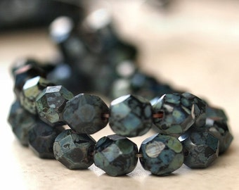 Matte Jet Picasso Czech Glass Bead 6mm Firepolish  Faceted Round Bead : 25 pc 6mm Black Round