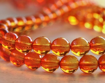 Fire Opal 10mm Bead Czech Glass Druk Round : 20 pc