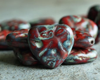 Czech Glass Carved Red Picasso 17mm Heart Bead : 4 pc