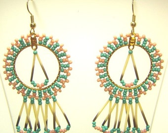 Hand Woven Turquoise & Pink Starburst Earrings with Porcupine Quills
