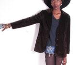 vintage 70s brown velvet smoking blazer short jacket coat