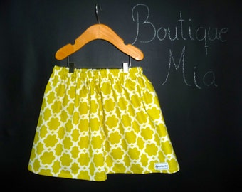 SAMPLE - Children Skirt - Lime greenish yellow - Will fit Size 3T up to 6 Yr - by Boutique Mia and More - Ready To Ship