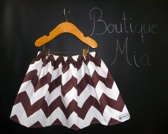 SAMPLE - Children Skirt - Chevron Chocolate and White - Will fit Size  2T up to 5T - by Boutique Mia - Ready To Ship