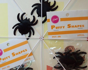 Vintage Halloween Supplies / Puffy Shapes / Spiders / Six Packages / Twelve Items