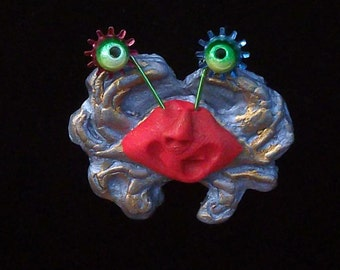 Tiny L'il Crabby Guy Pin - red on silver