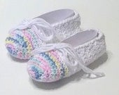 """Girl's Hand Crocheted Cotton, White, Blue, Pink, Yellow, Ballet House Slippers - Finshed - Size 12/13 - 5 1/2"""" - Ready to Ship"""
