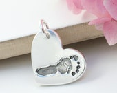 Baby Handprint Footprint Silver Heart Charm - Medium  size - new baby, baby print charm, mother's day gift, mommy neacklace, footprint charm