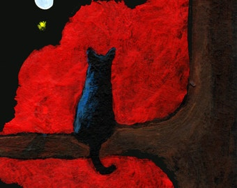 Black Cat Halloween Red Clouds ACEO Folk Art PRINT of Todd Young painting