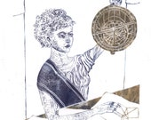 Linocut History of Math and Astronomy - Hypatia