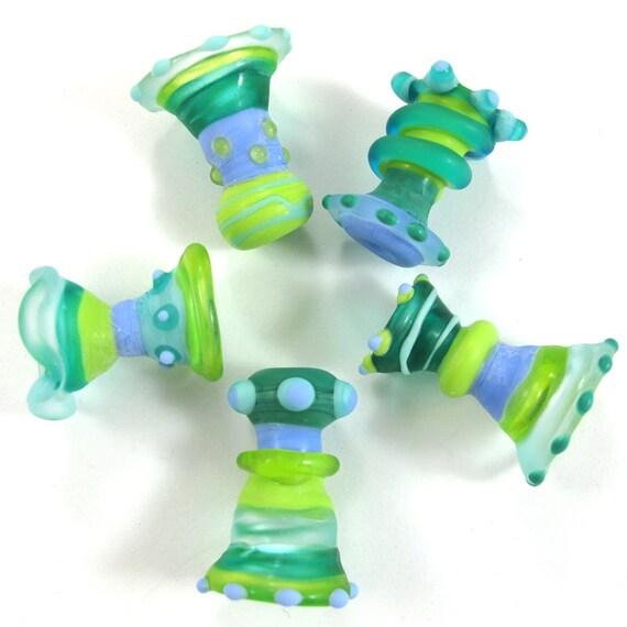 Lampwork beads. Lampwork beads set. Sea Wind Bells (5) SRA