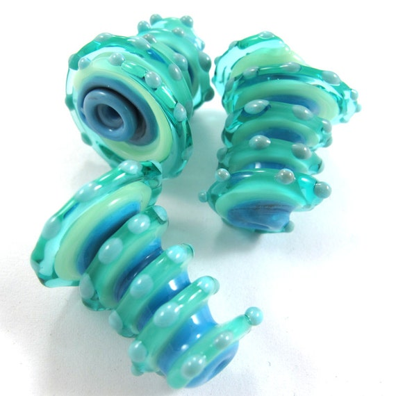 Lampwork beads. Lampwork beads set. Sea Wind Bells (3) SRA