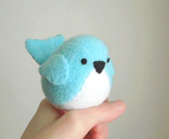 Kids Aqua Bluebird Stuffed Animal Handmade Childrens Plush Toy Stuffie