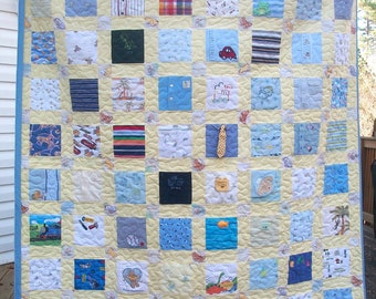 BABY CLOTHES Quilt Twin Size Bed Heirloom Memory Quilt Custom Order - Using Your Baby Clothes 68x86