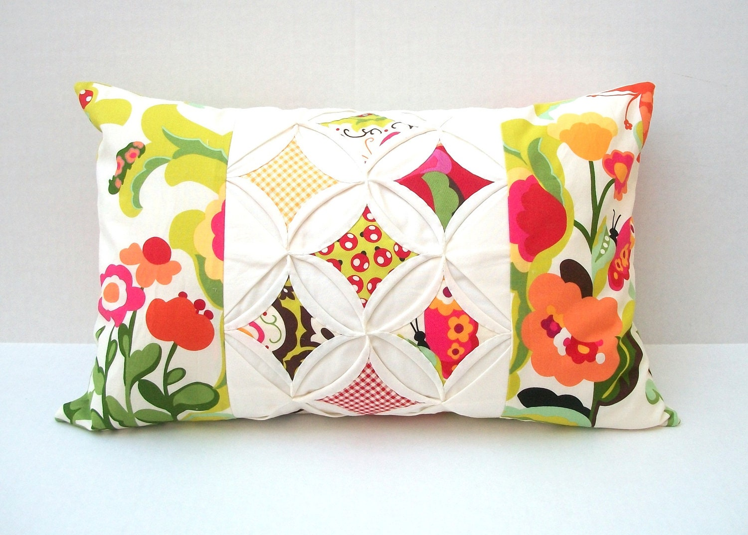 Decorative Quilted Pillow Covers : Quilted Modern Decorative Pillow Cover AND Pillow by warmnfuzzies
