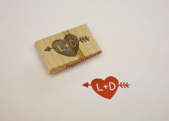 Personalized Heart & Arrow Hand Carved Stamp