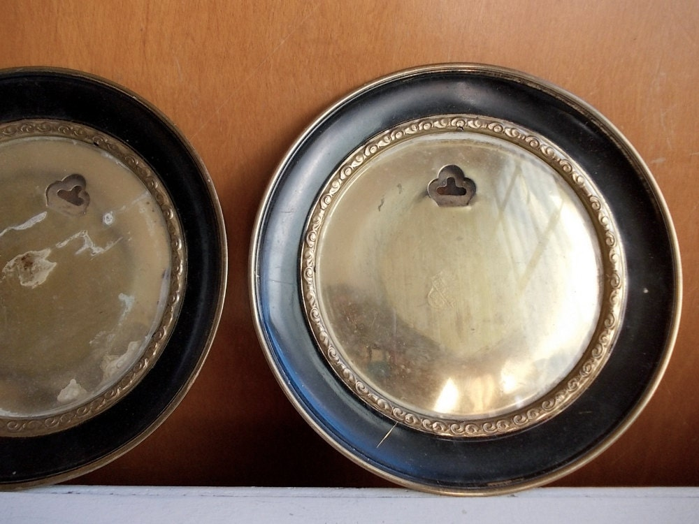 Round Brass Picture Frames Vintage Plate Frames
