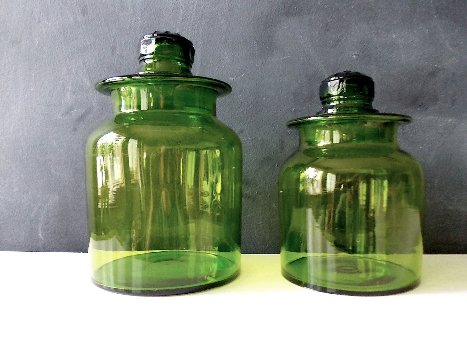 Kitchen Storage Canisters Antique Glass Apothecary Jars Blown Green Glass Bottles