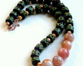 AFRICAN AUTUMN NECKLACE - African glass krobo beads, fire agate, freshwater pearl, copper clasp, ooak, handmade, green and orange for fall