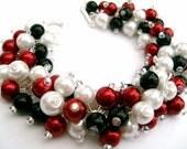 Pearl Bracelet with Earrings, Cluster Bracelet, Classic Colours, Red, White and Black Beaded Bracelet, Bracelet, Chunky Bracelet