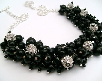 Set of 4 - Pearl and Rhinestone Beaded Necklace, Bridal Jewelry, Black Cluster Necklace, Chunky Necklace, Bridesmaid Gift by Kim Smith