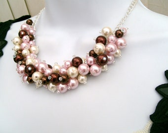 Pink & Chocolate Brown, Cluster Necklace, Winter Wedding, Pearl Necklace, Pearl Beaded Necklace, Bridal Jewelry, Chunky Pearl Necklace