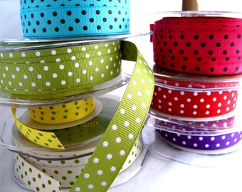 Trims Dotty Grossgrain Ribbons x4metres of your choice of 7colourways