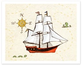 Children's Wall Art Print - Sailing Adventure - Kids Nursery Room Decor