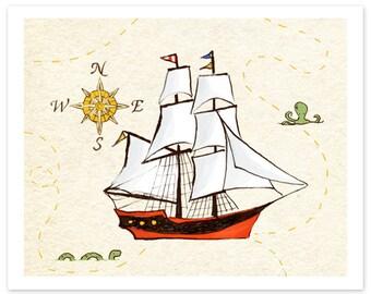 Children's Wall Art Print - Sailing Adventure - Kids Nursery Room Decor